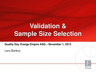 Validation & Sample Size Selection