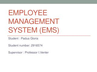 EMPLOYEE MANAGEMENT SYSTEM (EMS)