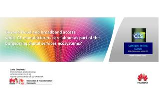 Beyond cloud and broadband access:  what  CE manufacturers care about as part of the burgeoning digital services ecosys