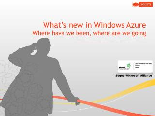 What's new in Windows Azure Where have we been, where are we going