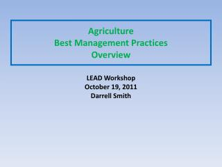 Agriculture  Best Management Practices  Overview