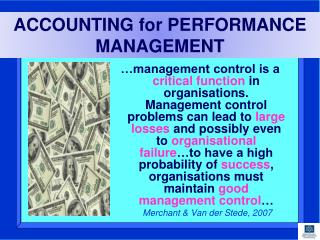 ACCOUNTING for PERFORMANCE MANAGEMENT