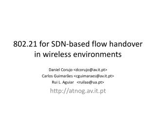 802.21  for SDN-based flow handover in wireless environments