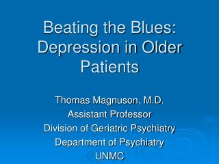 beating the blues: depression in older patients