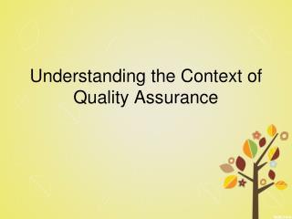 Understanding the Context of Quality Assurance