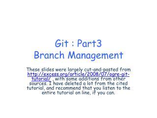Git  : Part3 Branch Management