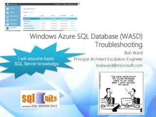 Windows Azure SQL Database (WASD) Troubleshooting