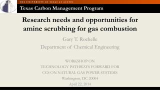 Research needs and opportunities for amine scrubbing for gas combustion