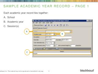 Sample Academic Year  Record – Page 1
