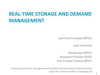 REAL-TIME  Storage and  Demand  Management