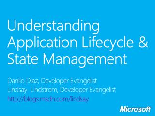 Understanding  Application  Lifecycle  & State Management