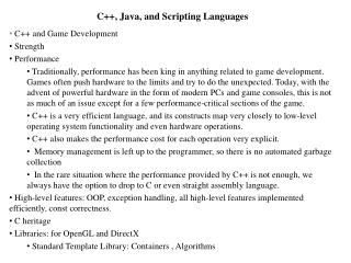 C++, Java, and Scripting Languages