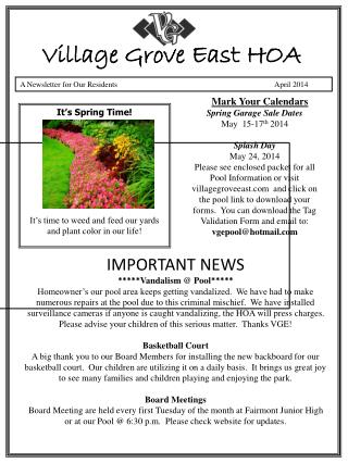 A Newsletter for Our Residents                                      April 2014