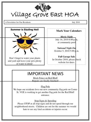 A Newsletter for Our Residents                                      July 2010