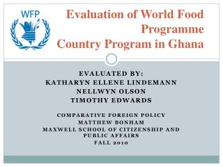Evaluation of World Food Programme  Country Program in Ghana