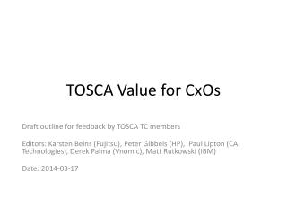 TOSCA Value for  CxOs