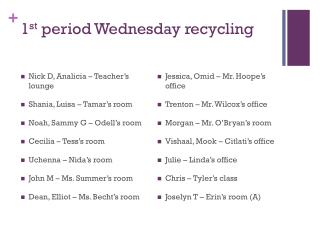 1 st  period Wednesday recycling