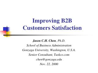 Improving B2B Customers Satisfaction