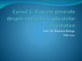 Cursul  1.  Aspecte generale despre integrarea aplicatiilor informatice