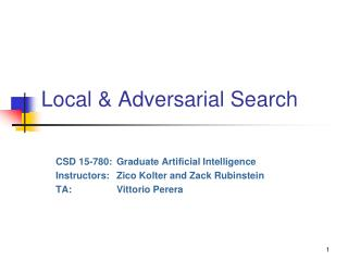 Local & Adversarial Search