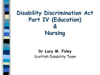 disability discrimination act part iv education  nursing