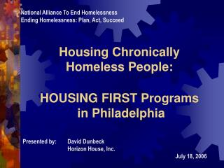 housing chronically homeless people: housing first programs ...