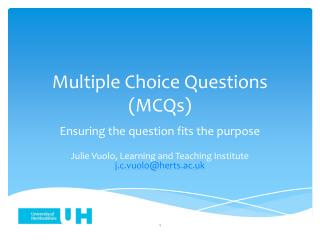 Multiple Choice Questions ( MCQs)