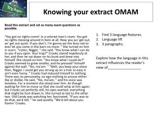 K nowing your extract OMAM