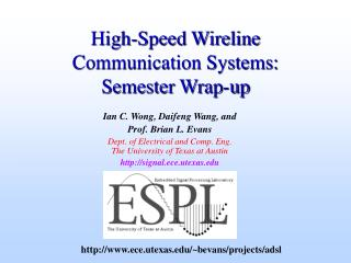 high-speed wireline communication systems:  semester wrap-up