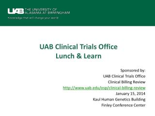 UAB Clinical Trials Office Lunch & Learn