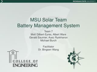 MSU Solar Team Battery Management System