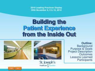 Building the Patient Experience  from the Inside Out