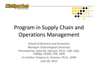 Program in Supply Chain and Operations Management