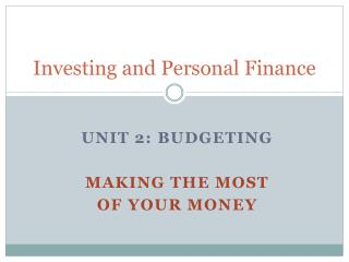 Investing and Personal Finance