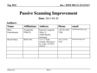 Passive Scanning Improvement
