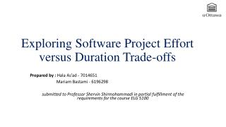 Exploring Software Project Effort versus Duration Trade-offs