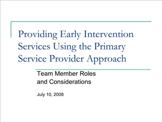 providing early intervention services using the primary service provider approach