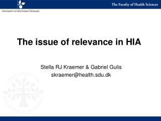The issue of relevance in HIA