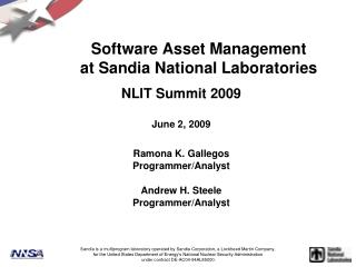 Software Asset Management at Sandia National Laboratories