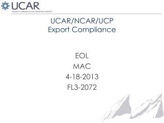 UCAR/NCAR/UCP Export Compliance