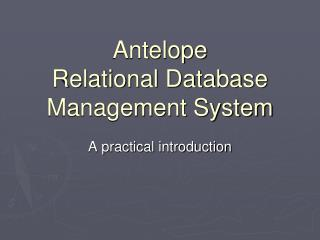 Antelope Relational Database Management System