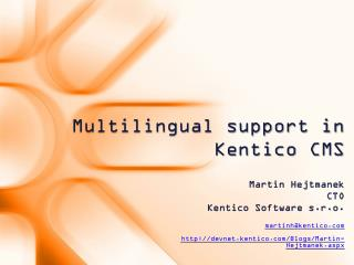 Multilingual support in  Kentico  CMS