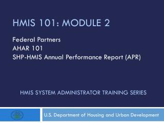 HMIS System administrator training series