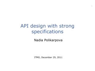 API design with strong specifications