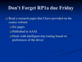 Don't Forget RP1a due Friday