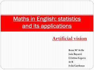 Maths in English: statistics and its applications