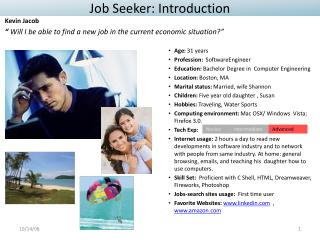 Job Seeker:  Introduction