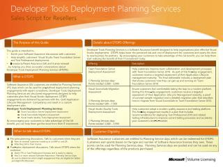 Developer Tools Deployment  Planning  Services
