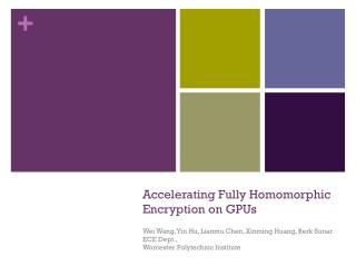 Accelerating Fully  Homomorphic  Encryption on GPUs