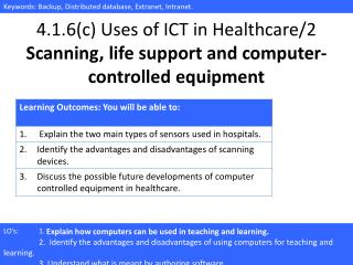 4.1.6(c) Uses of ICT in Healthcare/ 2 Scanning, life support and computer-controlled equipment